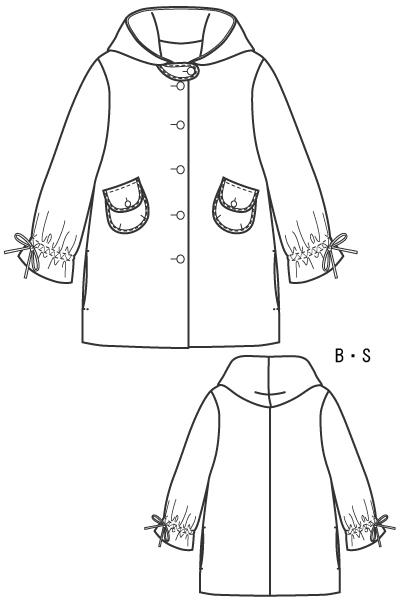 型紙 フード付きハーフコート